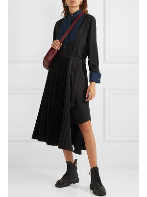Sacai belted pleated poplin and piqué midi dress