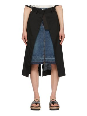 Sacai black & blue denim suiting combo skirt