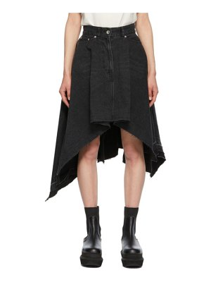 Sacai black denim draped asymmetric skirt