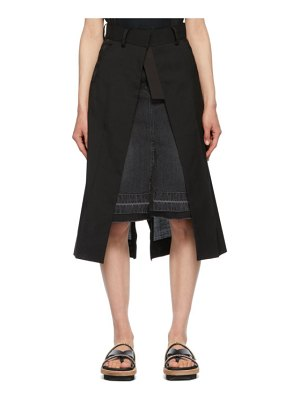 Sacai black denim suiting combo skirt