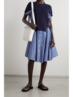 Sacai buckled paneled striped cotton-poplin and ribbed-knit dress