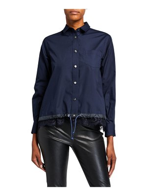 Sacai Button-Front Boxy Striped Poplin Shirt w/ Lace Hem