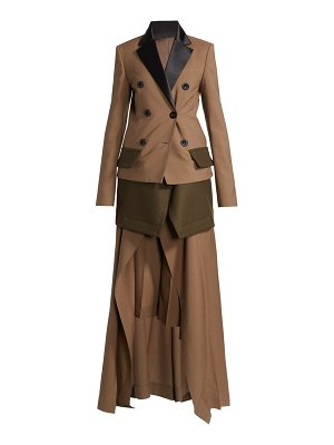 Sacai double breasted layered suiting jumpsuit