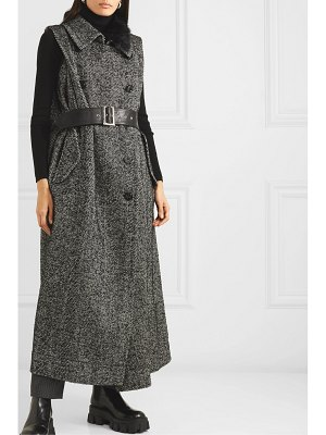 Sacai faux fur-trimmed layered herringbone wool-blend and leather vest