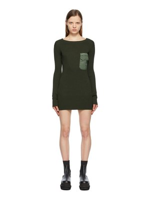 Sacai khaki knit & twill dress