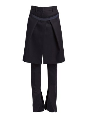 Sacai melton wool pants with removable skirt