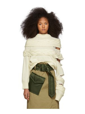 Sacai off-white cable knit sweater