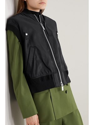 Sacai ribbed jersey and grosgrain-trimmed shell vest