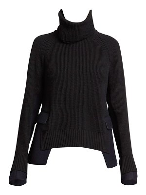 Sacai ribbed melton wool pullover sweater