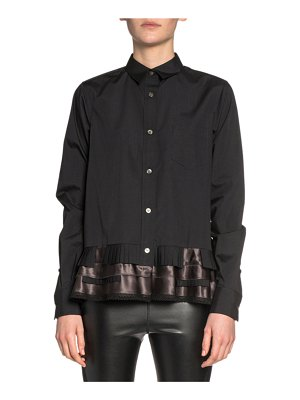 Sacai Ruffled Ribbon-Hem Button-Front Shirt