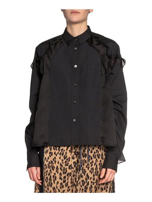 Sacai Ruffled Satin-Shoulder Button-Front Shirt