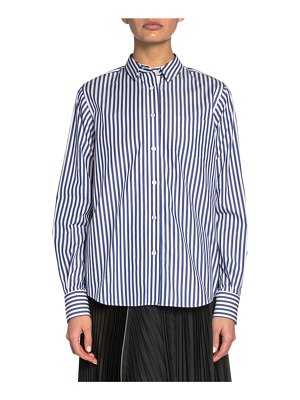 Sacai Striped Poplin Button-Front Shirt with Plisse Lace Back
