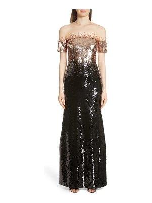 Sachin & Babi illusion off the shoulder sequin gown