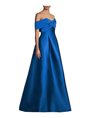 Sachin & Babi virabella satin off-the-shoulder a-line gown
