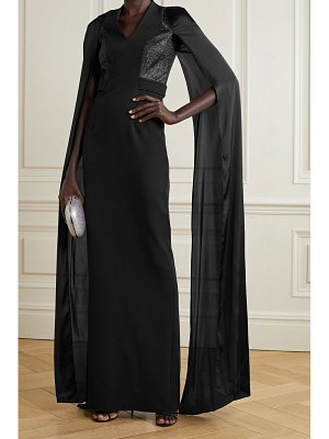 Safiyaa maria glittered stretch-crepe and satin gown
