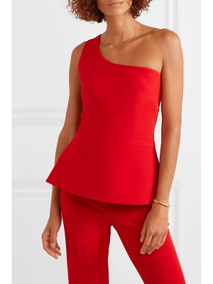 Safiyaa one-shoulder asymmetric draped stretch-crepe top