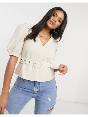 Saint Genies puff sleeve top with belt in cream