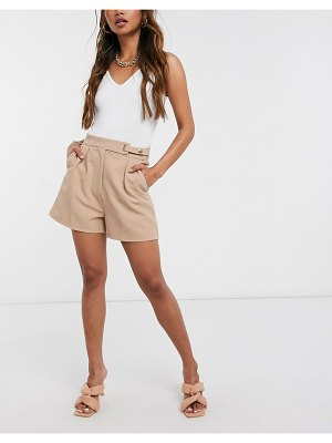 Saint Genies tailored short co ord in camel-tan