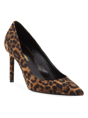Saint Laurent Anja Leopard Suede Pumps