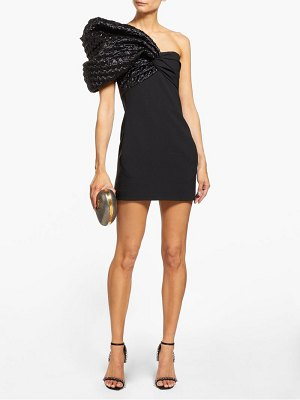 Saint Laurent heart-quilted one-sleeve crepe mini dress