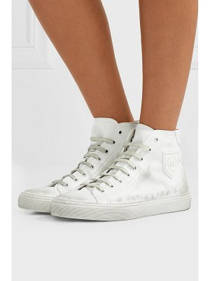 Saint Laurent bedford logo-appliqued distressed leather high-top sneakers