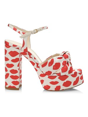 Saint Laurent bianca knotted lip-print canvas platform sandals