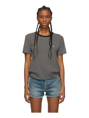 Saint Laurent black and white striped monogram t-shirt
