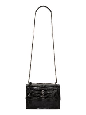 Saint Laurent black croc medium sunset monogramme chain bag