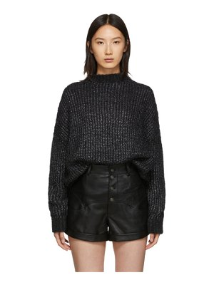 Saint Laurent black oversized crewneck sweater dress