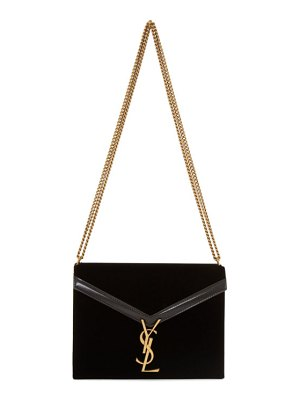 Saint Laurent black velvet medium cassandra bag