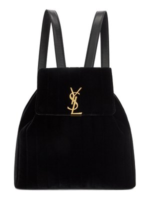 Saint Laurent black velvet vicky backpack