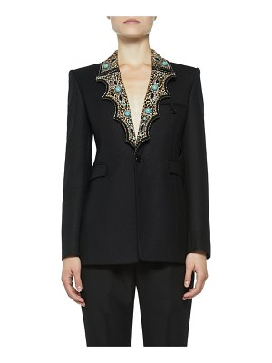 Saint Laurent Blazer with Leopard-Print Western Lapels