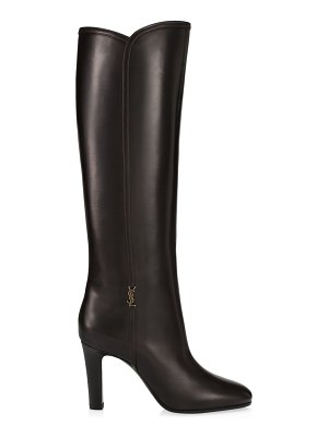 Saint Laurent blu tall leather boots