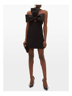 Saint Laurent bow-trim satin and crepe mini dress