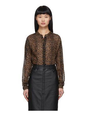 Saint Laurent brown leopard sheer oversized shirt