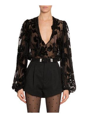 Saint Laurent Burnout Velvet Top