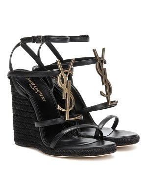 Saint Laurent cassandra leather espadrille wedges