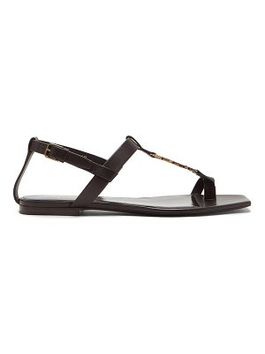 Saint Laurent cassandra ysl-monogram t-bar leather sandals