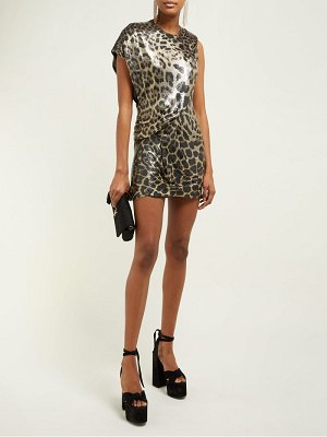 Saint Laurent chainmail leopard-print mini dress