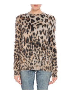 Saint Laurent Crewneck Long-Sleeve Leopard-Print Mohair Sweater