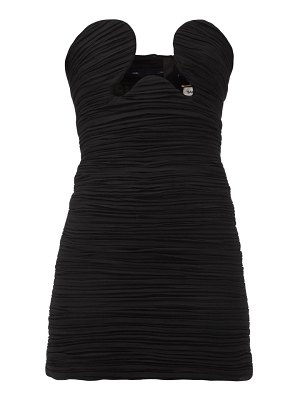 Saint Laurent cutout ruched georgette mini dress