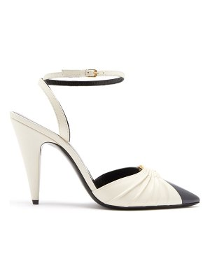 Saint Laurent diane ring-embellished leather pumps