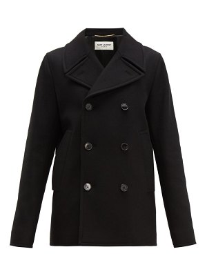Saint Laurent double breasted felted wool pea coat