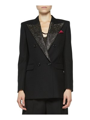 Saint Laurent Double-Breasted Tailored Jacket with Crystal Lapels