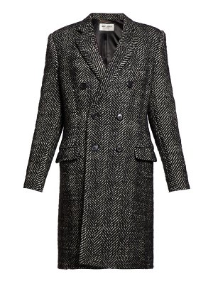 Saint Laurent double-breasted wool-blend herringbone coat