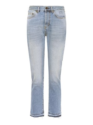 Saint Laurent Embroidered cotton slim-fit jeans