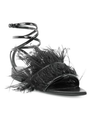 Saint Laurent era feather ankle strap flats