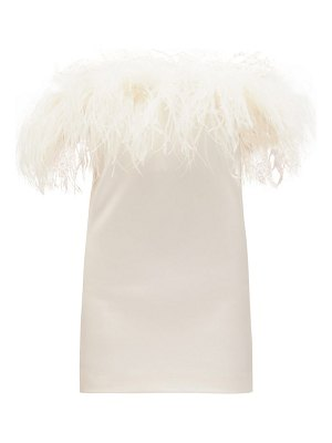 Saint Laurent feather-trimmed crepe mini dress