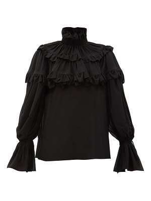 Saint Laurent flounced georgette blouse