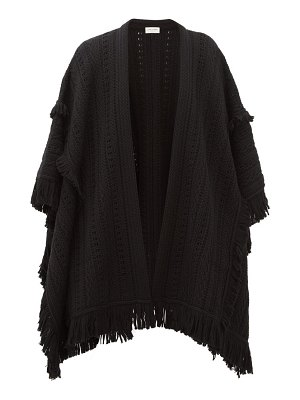 Saint Laurent fringed pointelle-knitted wool cape